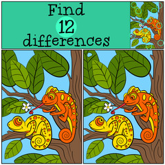 Children games: Find differences. Two little cute chameleons sit on the tree branch.