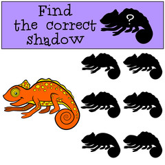 Children games: Find the correct shadow. Little cute orange chameleon smiles.