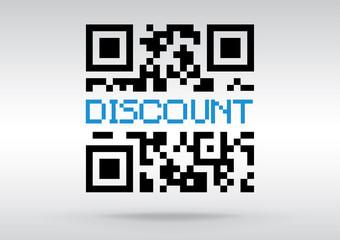 Discount symbol, vector conceptual QR code to scan