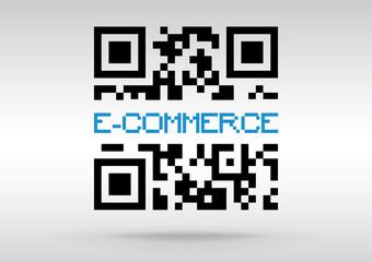 E-commerce symbol, vector conceptual QR code to scan