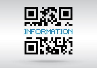 Information symbol, vector conceptual QR code to scan