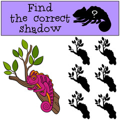 Children games: Find the correct shadow. Little cute pink chameleon on the tree branch.