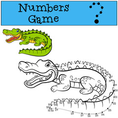 Educational games for kids: Numbers game with contour. Little cute alligator smiles.