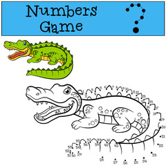 Educational games for kids: Numbers game. Little cute alligator.