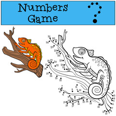 Educational games for kids: Numbers game. Little cute orange chameleon on the tree branch.