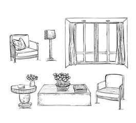 Drawn furniture. Room interior sketch