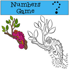 Educational games for kids: Numbers game. Little cute pink chameleon.