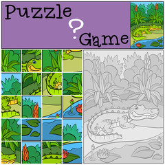 Education games for kids. Puzzle. Little cute alligator.