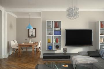 Modern eingerichtete Altbauwohnung mit Wohnzimmer und Esszimmer
