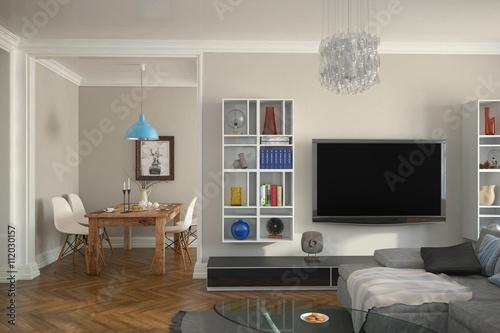 Modern eingerichtete altbauwohnung mit wohnzimmer und - Eingerichtete wohnzimmer ...