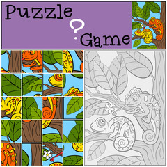 Education games for kids. Puzzle. Two little cute chameleons.