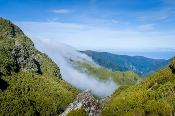Mountain view from popular Madeira 25 fontains levada hiking route