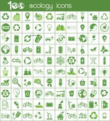 100 ecology green icons set on white background