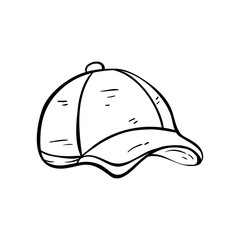 Illustration of Baseball Cap With Line Art or Doodle Style