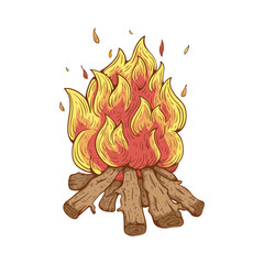 Illustration of Campfire With Color Line and Doodle Style