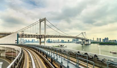 View of the Rainbow Bridge from Yurikamome Loop