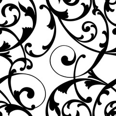 Vintage seamless baroque frame scroll ornament pattern. Vector.