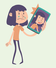 Cartoon Girl Taking a Photo