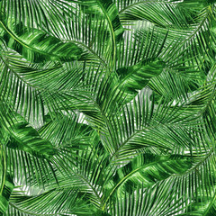 Printed roller blinds Tropical Leaves Watercolor Seamless pattern - Tropical background