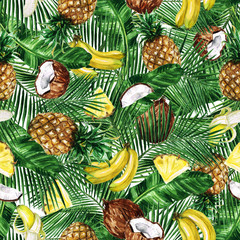 Watercolor Seamless pattern - Tropical Fruity background
