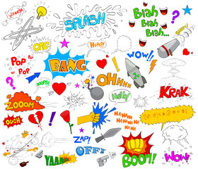 Set of funky comic explosion graphic elements