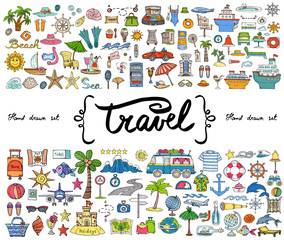Vector set with hand drawn colored doodles on the  theme of travel, tourism. Sketches for use in design