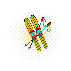 Skis and sticks icon, comics style