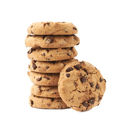 Stack of cookies isolated over the white background