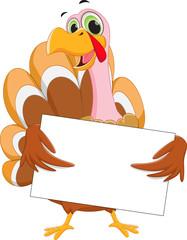 happy turkey cartoon with blank sign