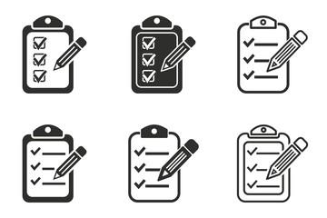 Clipboard pencil icon set
