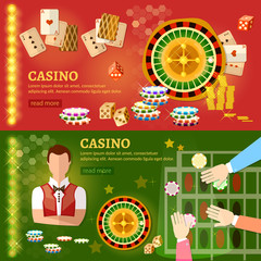 Casino banner poker game playing cards roulette