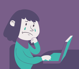 Cartoon Girl Working on Notebook