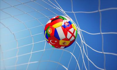 Fußball mit Länderflaggen im Tor 2