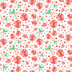 Seamless vector pattern with red ornamental cherries and decorative elements on the white background. Repeating ornament. Series of Fruits and Vegetables Seamless Patterns.