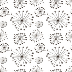 Seamless vector floral pattern. Black and white hand drawn background with abstract flowers. Series of Hand Drawn Seamless Patterns.