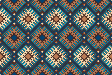 Tribal Aztec Style Seamless Geometric Pattern. Vector Pixel Pattern