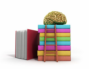 Gold brain training concept lies on a pile of books and a wooden