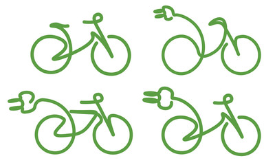 4 bicycle, ecobike, ecology green icons set on white background