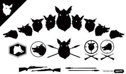 Boar Hunter Heads vector set