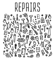 Hand drawn repairs construction tools seamless logo