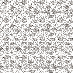 Vector seamless pattern with fish, star, shell and bubble. Hand drawn doodle sea elements. Black and white background.