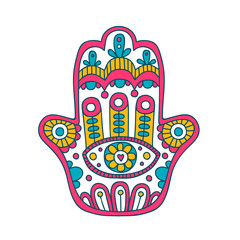 Doodle hamsa. Vector hand drawn hamsa with doodle ornament. Hand of Fatima. Amulet with ethnic design. Isolated. Pink, yellow and blue colors.
