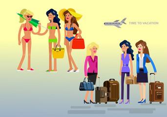 Hot girl on a beach. Vector illustration