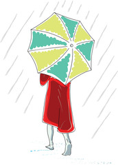 Vector sketch of woman goes under an umbrella.