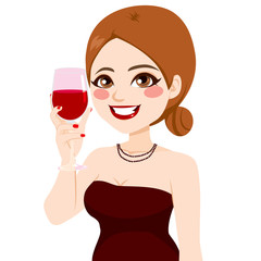 Attractive happy smiling woman toasting with wine glass