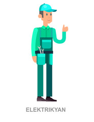 Illustration of a Man Dressed as an Electrician