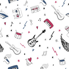 Music symbols. Seamless pattern. rock background textures.
