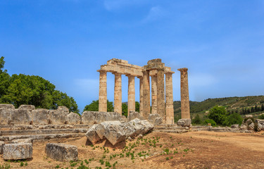 ruins of doric temple in  Ancient Nemea, Corinthia