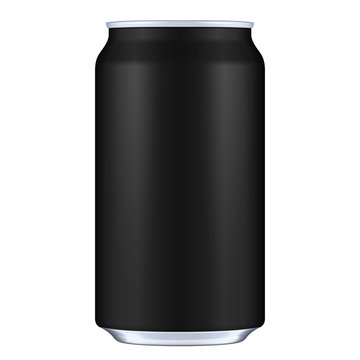 Black Blank Metal Aluminum Beverage Drink Can. Illustration Isolated. Mock Up Template Ready For Your Design. Vector EPS10
