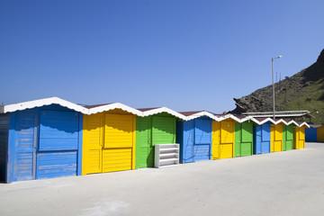 colorful huts in Gokceada island, Cannakkale, Turkey